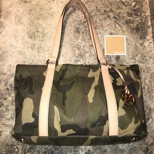 Michael Kors Camo Camouflage Leather XL Tote NWOT